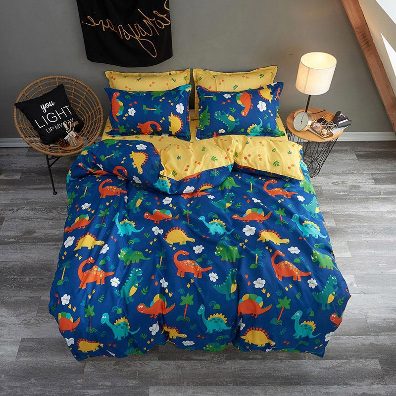 Dinosaur Cartoon Animal Pattern Kids Bed Cover Set Duvet Cover Adult Child Bed Sheet And Pillowcases Comforter Bedding Set 61010