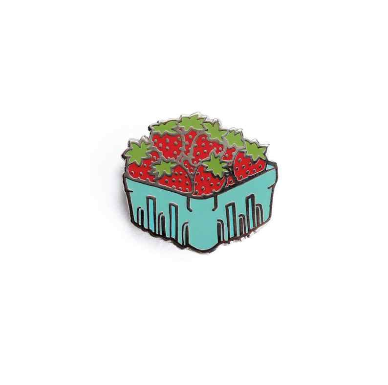 Strawberry Keranjang Enamel Pin-Buah Lapel Pin/Keras Enamel Pin Pin Lencana