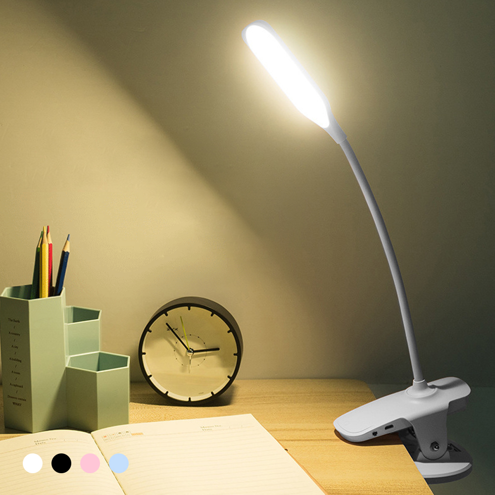 Dimmable LED Light Desk Lamp USB Rechargeable Eye-Protection 360 Adjust Flexible