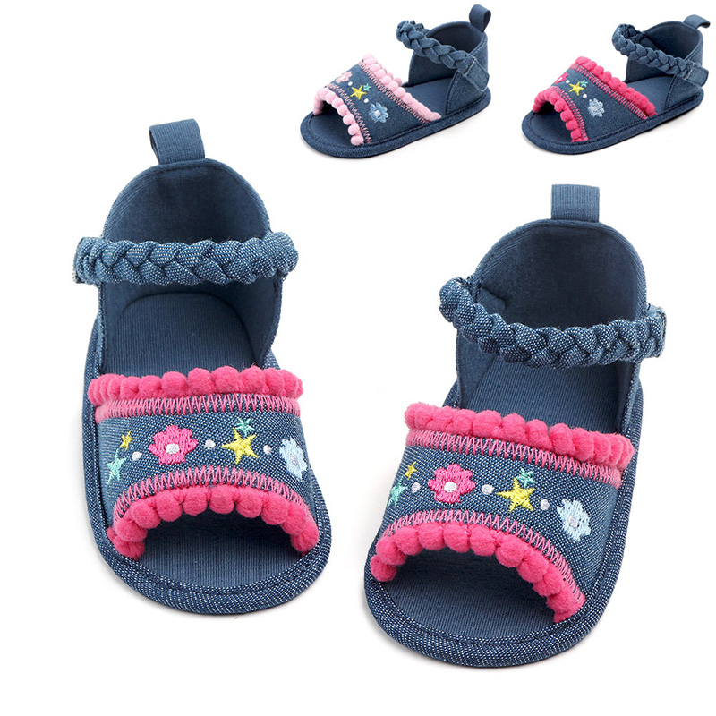 Baby Girl Sandals Summer Baby Girl Shoes Cotton Canvas Embroidery Baby Girl Sandals Newborn Baby Shoes Sandals