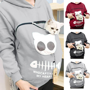 Pet Carrier Thicken Shirts Kitten Puppy Holder Animal Pouch Hood Breathable Christmas Sweatshirt For Children Ladies Hoodie(China)