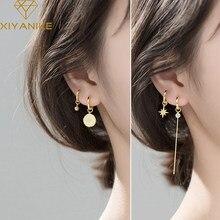 XIYANIKE argento Sterling 925 coreano nuovo cerchio retrò stella zircone orecchini lunghi temperamento femminile moda regalo fatto a mano coppia