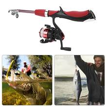 Telescopic Fishing Rod Combo dan Reel Full Kit Es Spinning Reel Rod Tiang Gear Set dengan Umpan Hook Ikan alat(China)