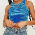 Женский трикотажный укороченный топ без рукавов Y2K, Повседневная летняя футболка с открытыми плечами, синяя футболка с круглым вырезом, вин...
