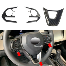 Wooeight 3Pcs Car Interior Steering ABS Wheel Button Frame Cover Trim Carbon Fiber Sticker Decals Fit for Toyota Corolla 2019 zxmt 2pcs carbon fiber interior steering wheel button frame cover for toyota camry 2018 accessories