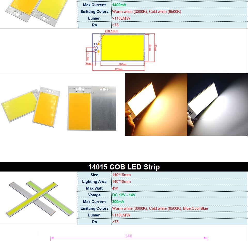 DC12V COB LED Strip Light Source 5W 10W 20W 50W 200W 300W LED Bulb White Blue Red Flip Chip COB Lamp DIY House Car Lighting 12V (7)