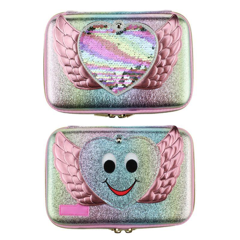Lovely Pen Box Girls School Mirror Pencil Case Stationery Bag Ribbon Sequin Storage Organizer L41E