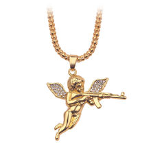 Роскошные Стразы, кулон в виде крыльев мальчика херувима, ожерелье, стреляет Купидон, любовь, Бог, золотой цвет, хип-хоп, мужской Шарм, воротник, длинная цепочка, ювелирное изделие