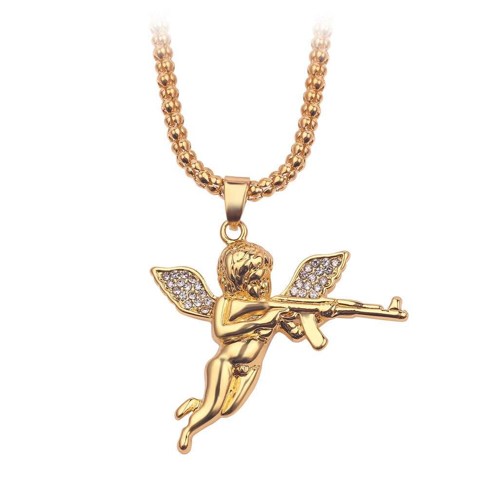 Luksusowe Rhinestone Boy Cherub naszyjnik z wisiorkiem w kształcie skrzydeł strzelać amorek miłość bóg złoty kolor Hip-hop mężczyzna urok kołnierz długi łańcuch biżuteria