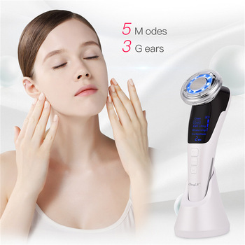 EMS Hot Cool Facial Massager Sonic Vibration Ion LED Photon Anti Aging Skin Rejuvenation Lifting Tighten Face Skin Care Beauty 4 3mhz ultrasound vibration galvanic ion anti aging acne wrinkle removal photon tender skin rejuvenation facial beauty massager