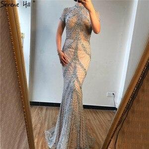 Image 4 - Champagne col haut Sexy robes de soirée sirène paillettes manches courtes luxe robes de soirée Design 2020 sereine colline LA70196