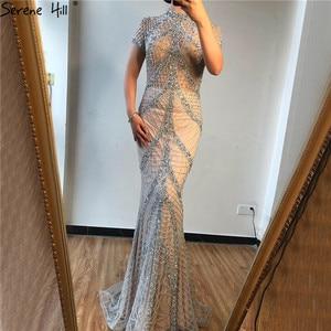Image 4 - Szampana wysoki kołnierz Sexy suknie wieczorowe syrenka cekinami krótkie rękawy luksusowe suknie wieczorowe projekt 2020 Serene Hill LA70196