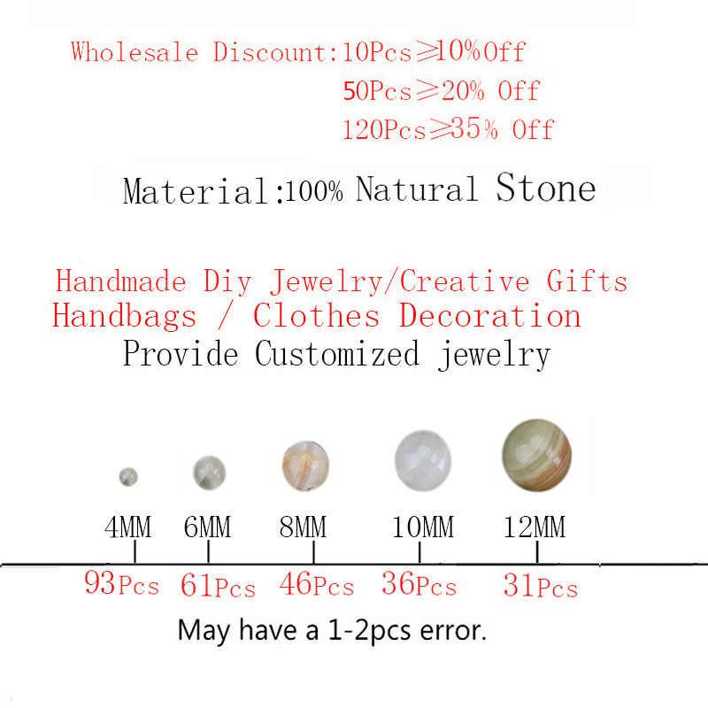 الطبيعي الساقطات ضوء حجري الأخضر الأبيض العقيق جولة فضفاض الخرز 4 6 8 10 12 مللي متر أساور يدوية قلادة لصنع المجوهرات
