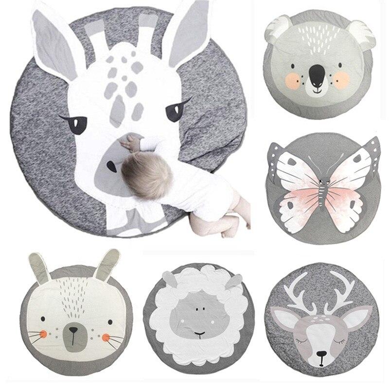 Nouveau dessin animé bébé jouer tapis enfant en bas âge enfants animaux ramper couverture tapis rond tapis jouets tapis pour enfants décoration de chambre