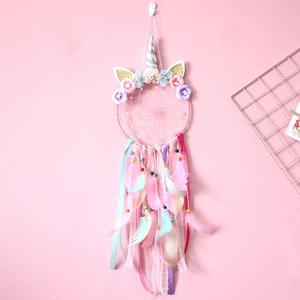Unicorn Dream Catcher Wall Hanging Art Gauze Flowers Creative Fantastic Hanging Pendant Pink Feather Decor for Bedroom Cars