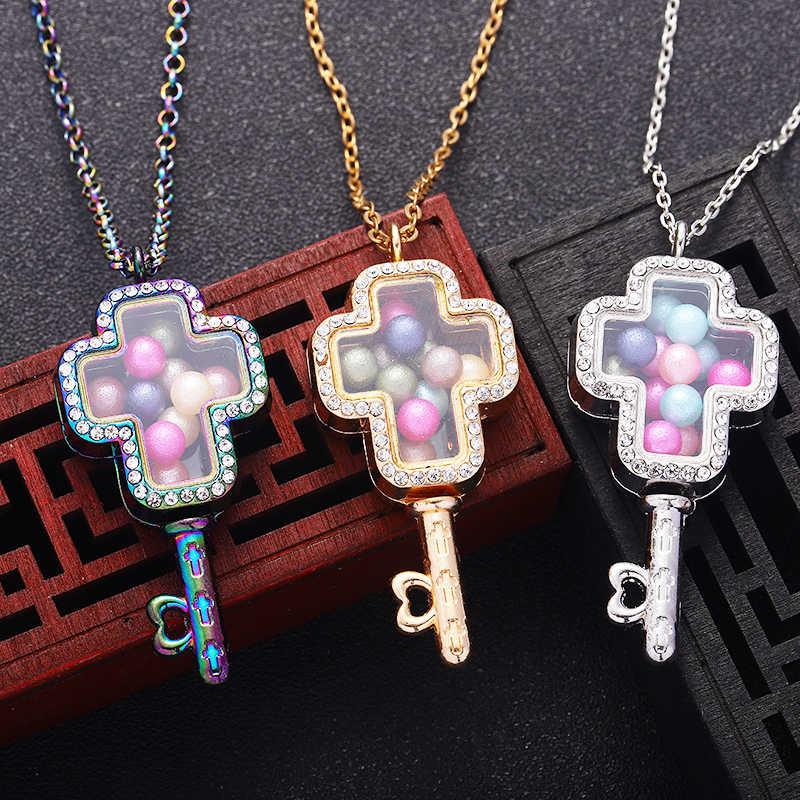 Krzyż klucz koraliki w kształcie wisiorek medalion mężczyźni i kobiety perłowy szklany naszyjnik pływający perłowy klatka pani srebrny naszyjnik biżuteria