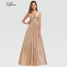 Fashion Sparkle Women Dress A Line Double V Neck Sleeveless Sequined Evening Party Dress Ladies Gold Maxi Dress Lange Jurken