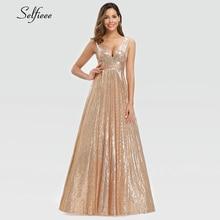 Moda Sparkle kobiety sukienka A Line podwójny dekolt bez rękawów cekinowa suknia wieczorowa panie złota sukienka Maxi Lange Jurken