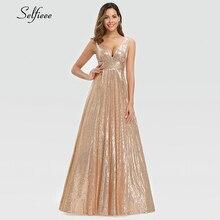 האופנה Sparkle נשים שמלת אונליין כפול V צוואר שרוולים נצנצים ערב המפלגה שמלת גבירותיי זהב מקסי שמלת לנגה Jurken