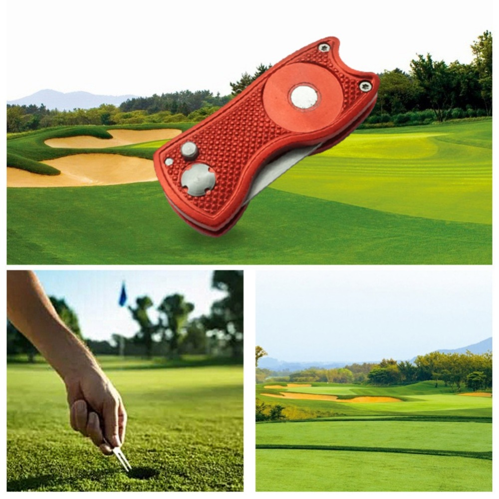 Foldable Golf Pitchfork With Golf Ball Tool Pitch Groove Cleaner Golf Training Aids Golf Accessories Putting Green Fork