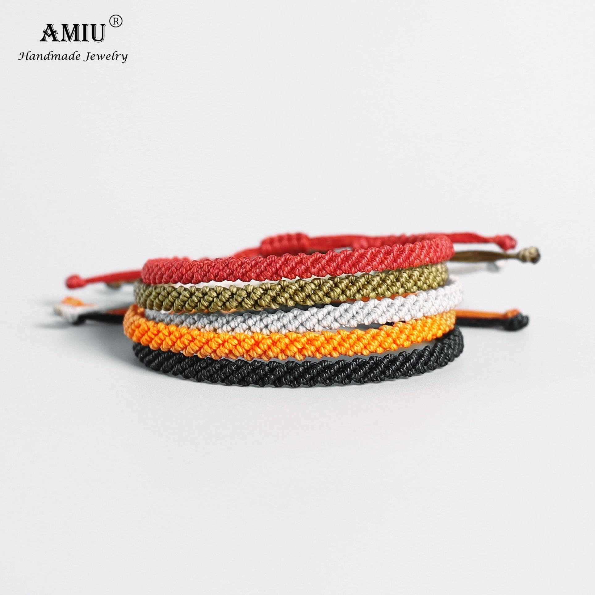 AMIU Handmade Waterproof Wax Thread Lucky Rope Bracelet & Bangles For Women Men Wax Thread Macrame Bracelets(China)
