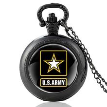 2020 New Black US Army SymbolSymbol Glass Dome Quartz Pocket Watch Classic Men Women military Necklace Pendant Gifts