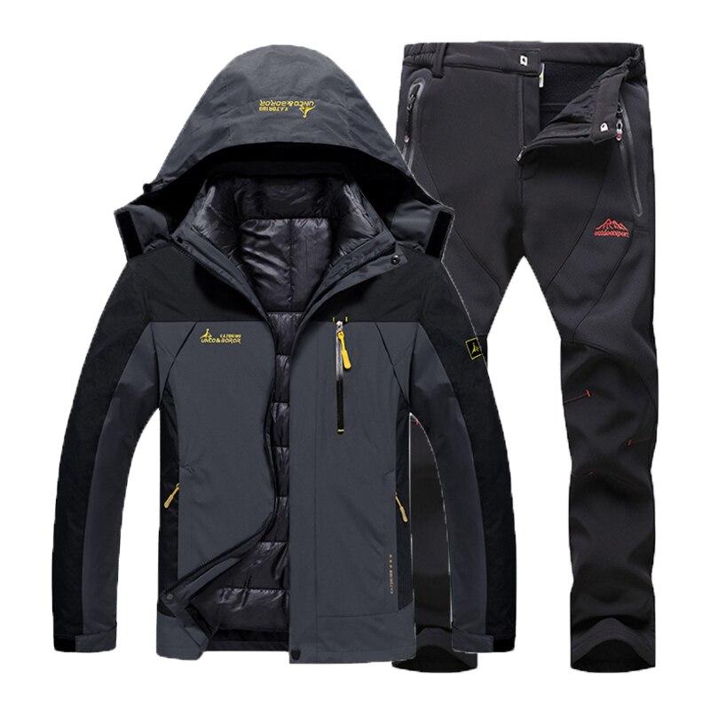 Hombre invierno impermeable peces Trekking senderismo campamento esquí subir cálido de talla grande 3 en 1 algodón al aire libre chaquetas Softshell pantalones traje