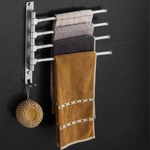 4Arms Rotatable Towel Rack Space Aluminium Towel Hanging Bars Towel Storage With Hooks Bathroom Accessories цена и фото