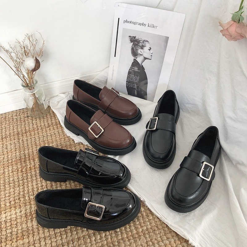 British Style Shoes Woman Flats Casual Female Sneakers 2020 Fashion Women's All-Match Autumn Loafers With Fur Round Toe Oxfords