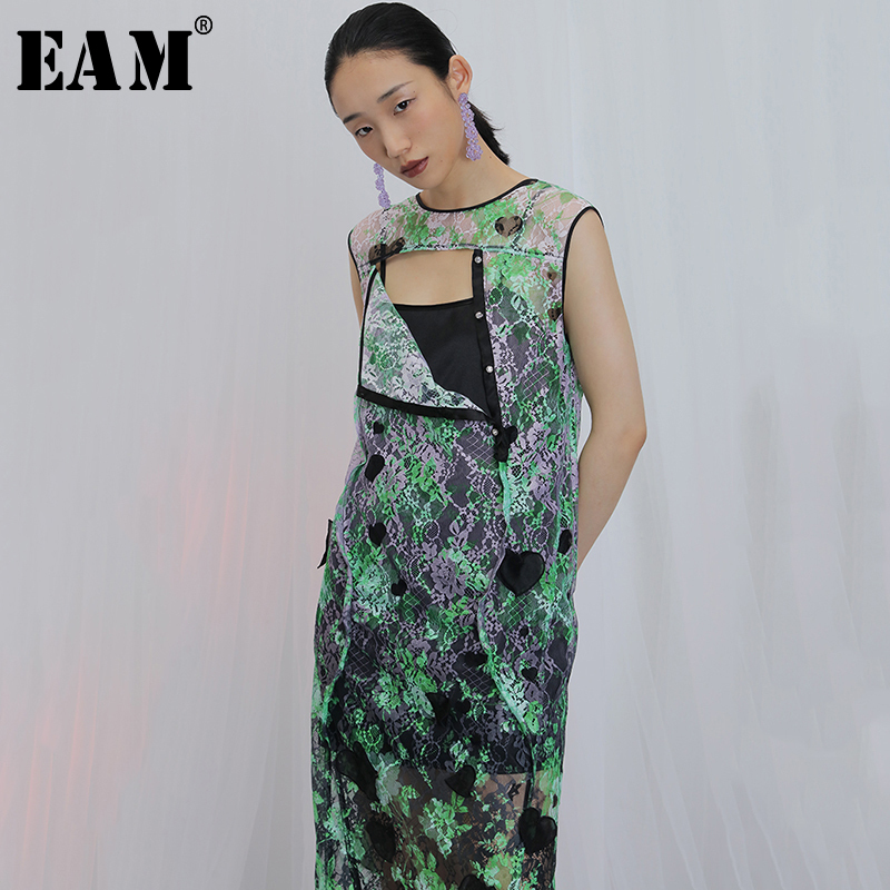 [EAM] Women Green Pattern Printed Nailed Temperament Dress New Round Neck Sleeveless Loose Fit Fashion Spring Summer 2020 1X885