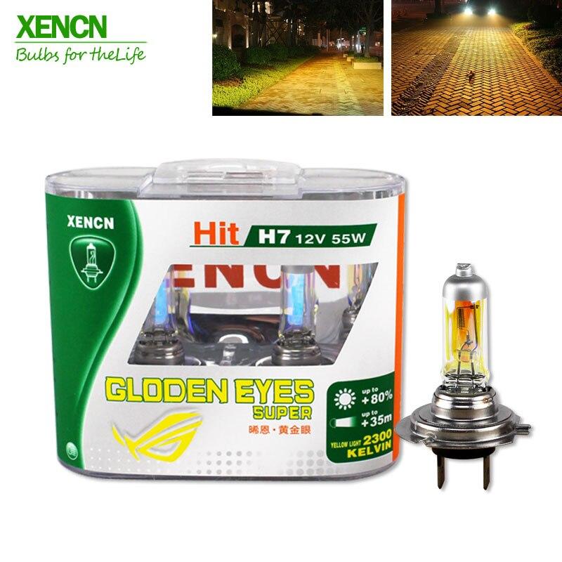 Xencn h7 12 v 55 w p43t 2300 k halogênio headlihgt substituir atualização super amarelo luz do carro lâmpadas 30% mais luz frete grátis 2 pçs