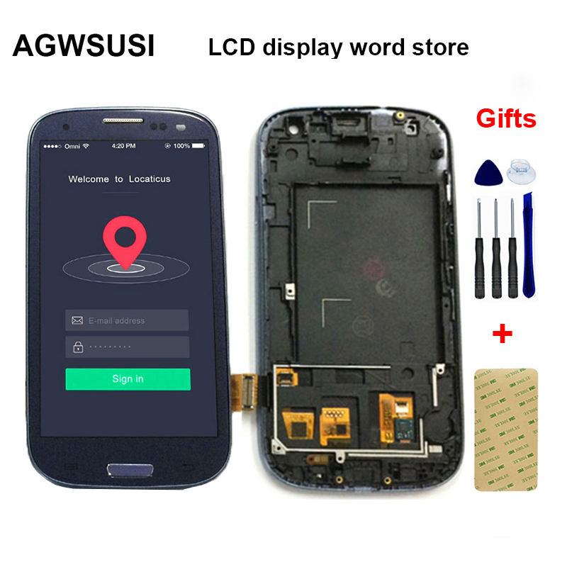 For Samsung Galaxy S III S3 LCD I9300 I9300i I9301 I9301i LCD Display Panel + Touch Screen Digitizer Glass Assembly with Frame