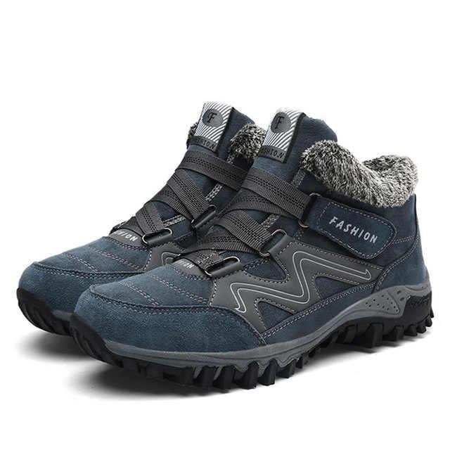 Классические мужские ботинки зимние уличные плюшевые теплые мужские замшевые ботильоны водонепроницаемые Нескользящие мужские зимние ботинки Большие размеры Мужская Рабочая обувь