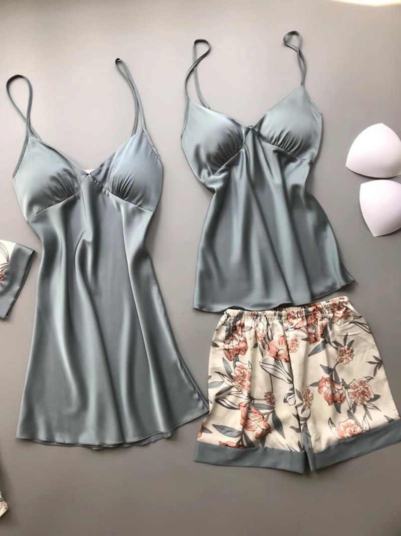 Mùa Xuân, Mùa Thu 2020 Phụ Nữ Bộ Đồ Ngủ Lụa Bộ Có Đệm Lót Ngực In Hoa Pijama Ngủ 4 Miếng Spaghetti Dây Satin Pyjamas