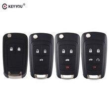 KEYYOU – coque de clé de voiture pliable HU100, pour Chevrolet Cruze Epica Lova Camaro Impala 2 3 4 5 boutons, étui de clé de voiture pliable 10X