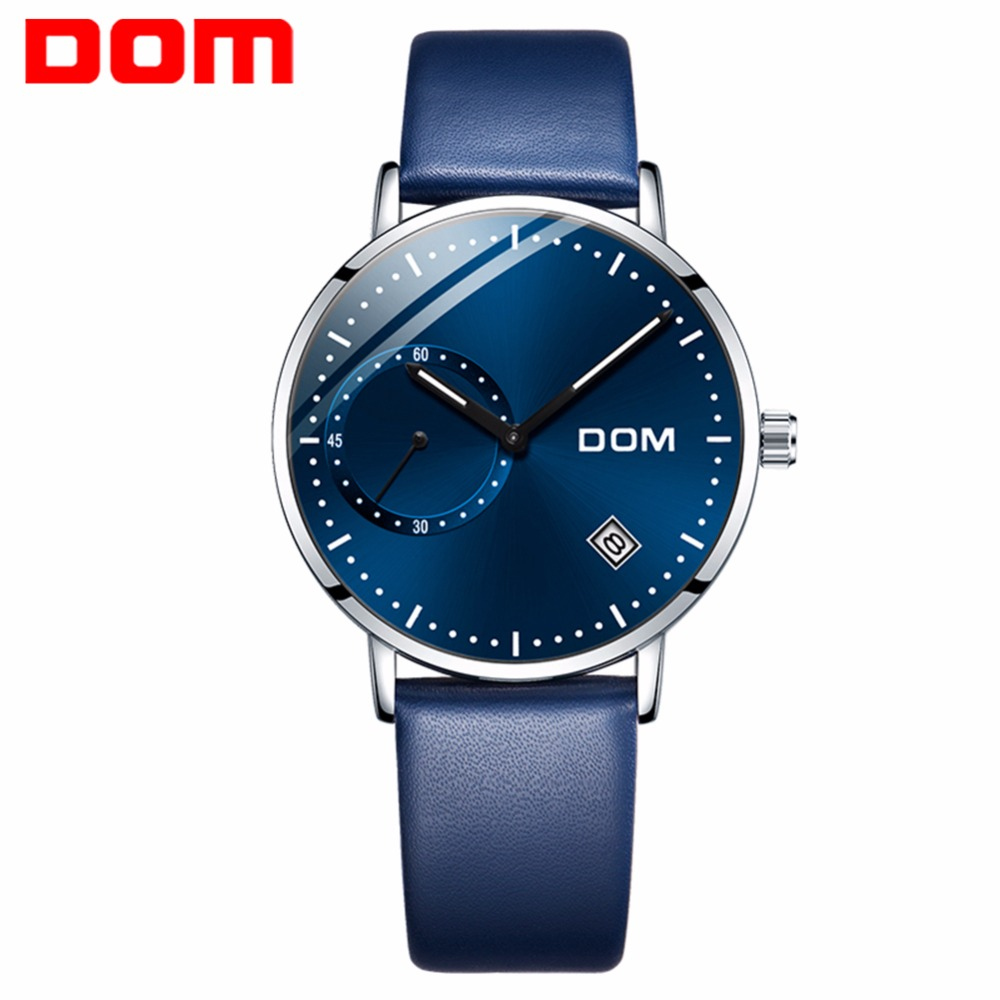 DOM Watch Men Sport Casual Blue Face Simple Man Watch Waterproof Calendar Unique Fashion Casual Quartz Male Dress Clock M-302