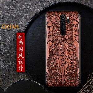 Image 3 - Étui de téléphone pour xiaomi en bois fait main Redmi Note 8 Pro couverture en bois véritable naturel calligraphie chinoise s caractères couverture en ébène