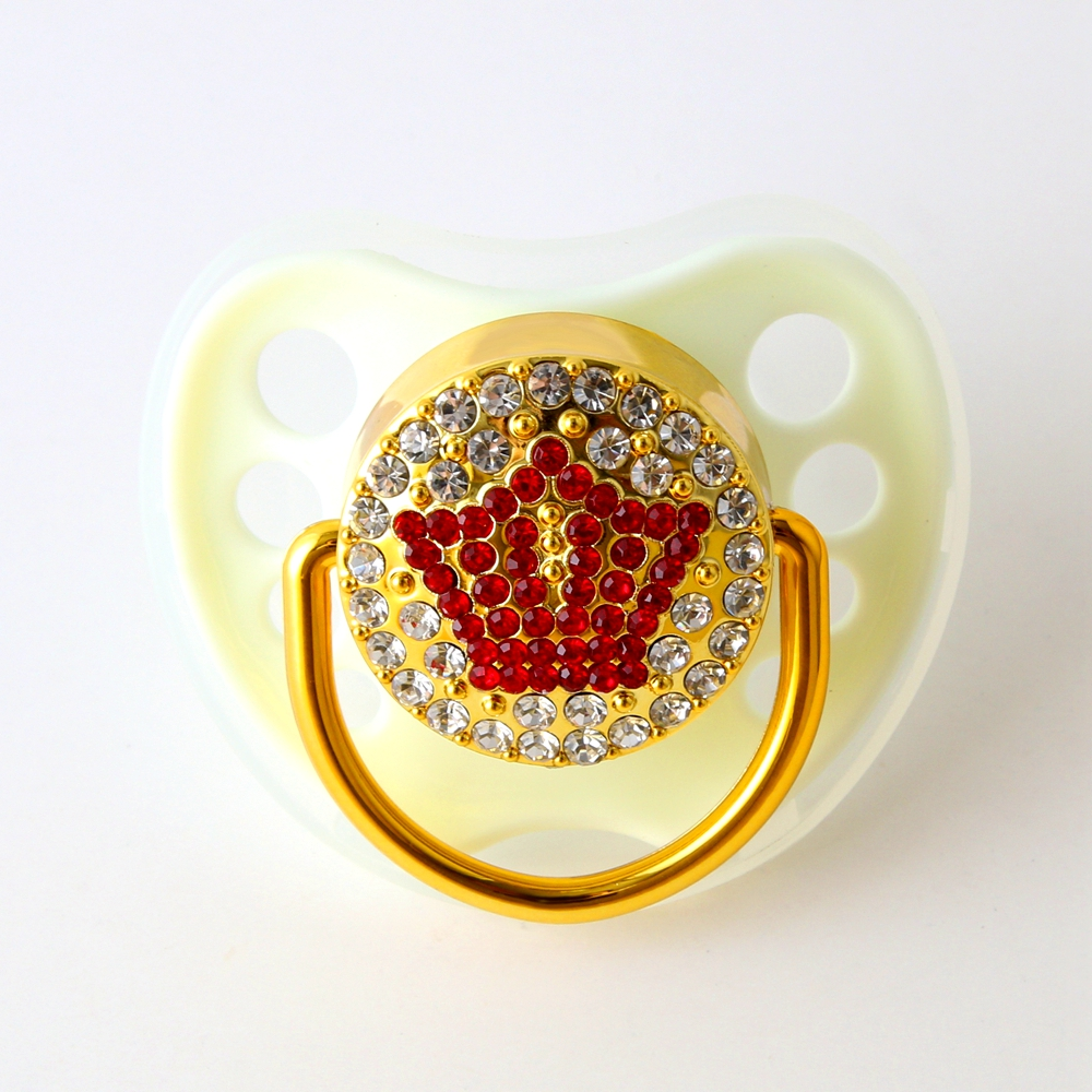 White Baby Pacifier With Rhinestones Bling Crown Pacifier Nipple For Babies 0-18 Months Perfect Baby Gifts