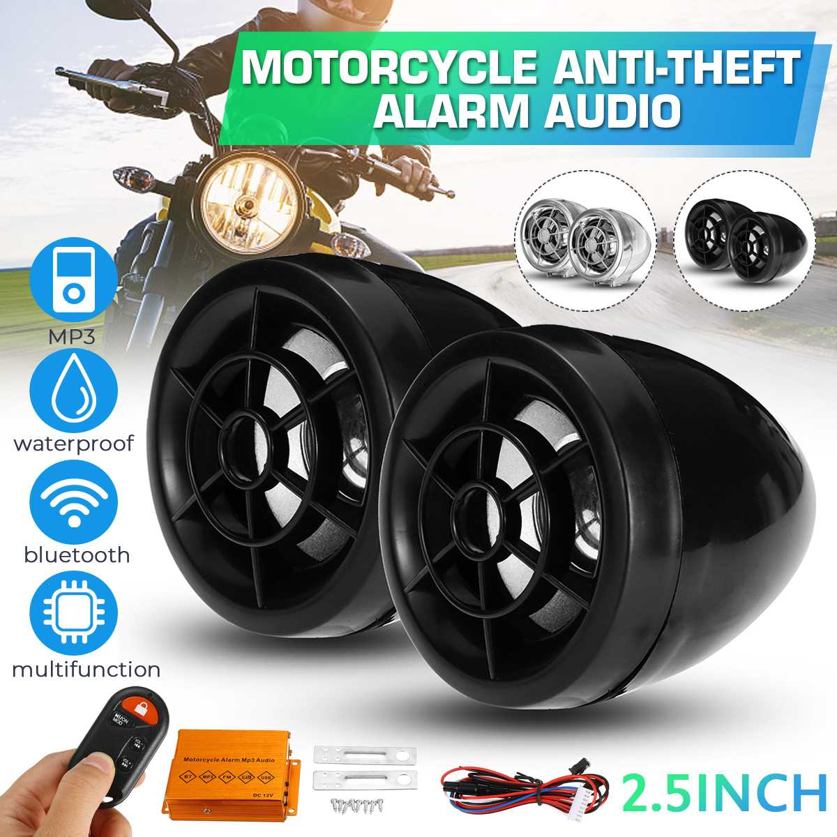 Motorcycle Bluetooth Audio Waterproof Anti-theft Alarm System Speaker FM Radio MP3 Player Music Amplifier With Remote Control