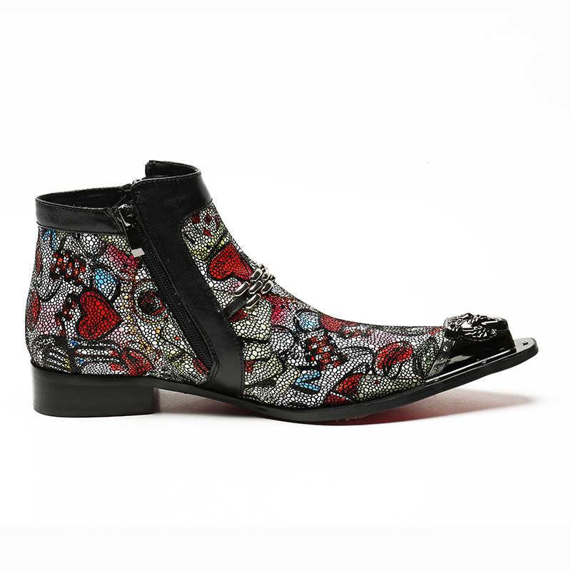 2020 neue Designer Metall Trend Kühlen Reißverschluss Hand Gemalt Priting Herren Stiefeletten Männlichen Herbst Spitz High Top Schuhe schuhe