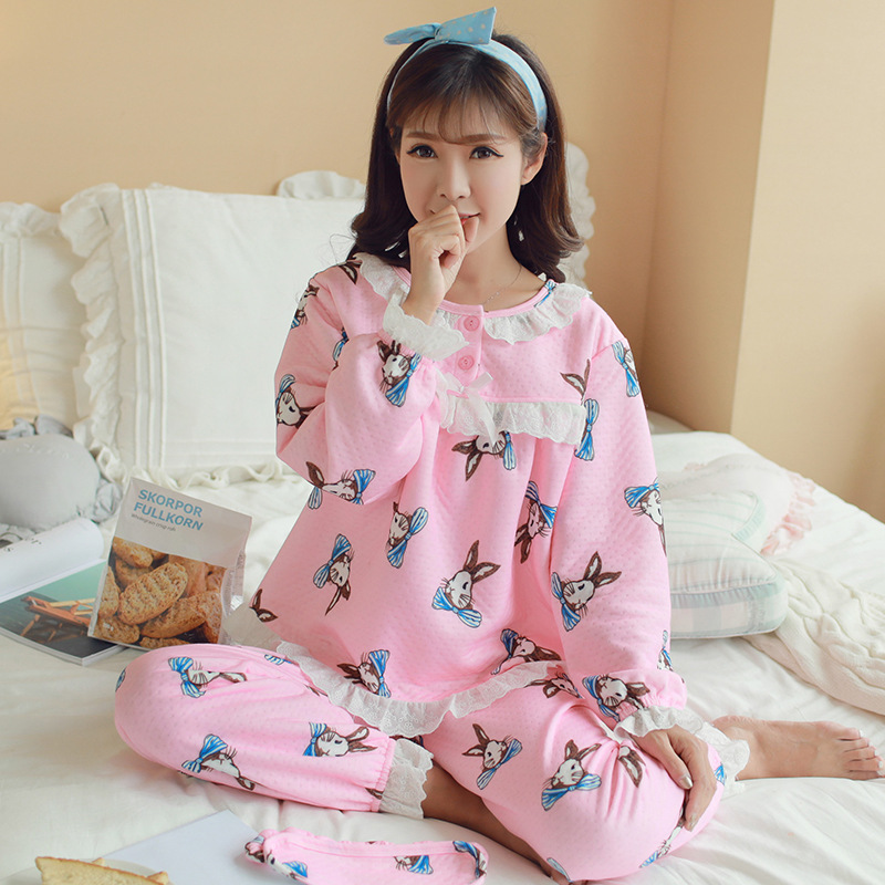 Confinement Clothing Dissection Thick Flannel Pregnant Women Pajamas Winter Padded Air Layer Tracksuit Pajamas Suit 500