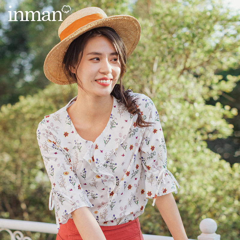 INMAN 2020 Spring New Arrival Cotton Youth Vitality Falbala Literary Floral Medium Sleeve Blouse