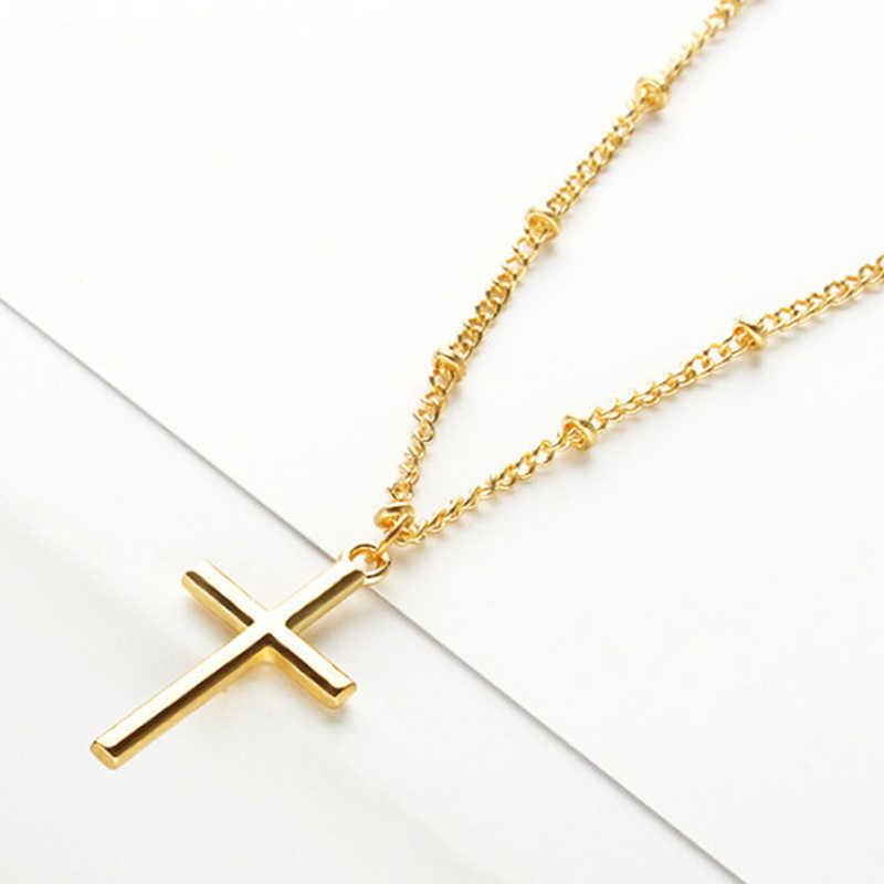 ファッション女性女の子ゴールドチェーンクロスネックレスペンダントサスペンション宗教ネックレス位置ビーズチェーンジュエリーレディースネックレス
