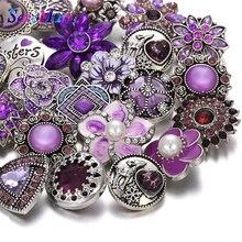 10 шт./лот, опт, оснастка, ювелирное изделие, 18 мм, кнопки, смешанные, фиолетовый, горный хрусталь, металлический цветок, кнопки для оснастки, браслет, браслет