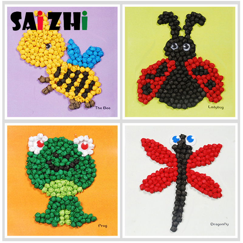 Saizhi DIY Children Puzzle Creative Hand Kneading Paper Stickers Three-dimensional Sticker Painting Gifts Toys For Children