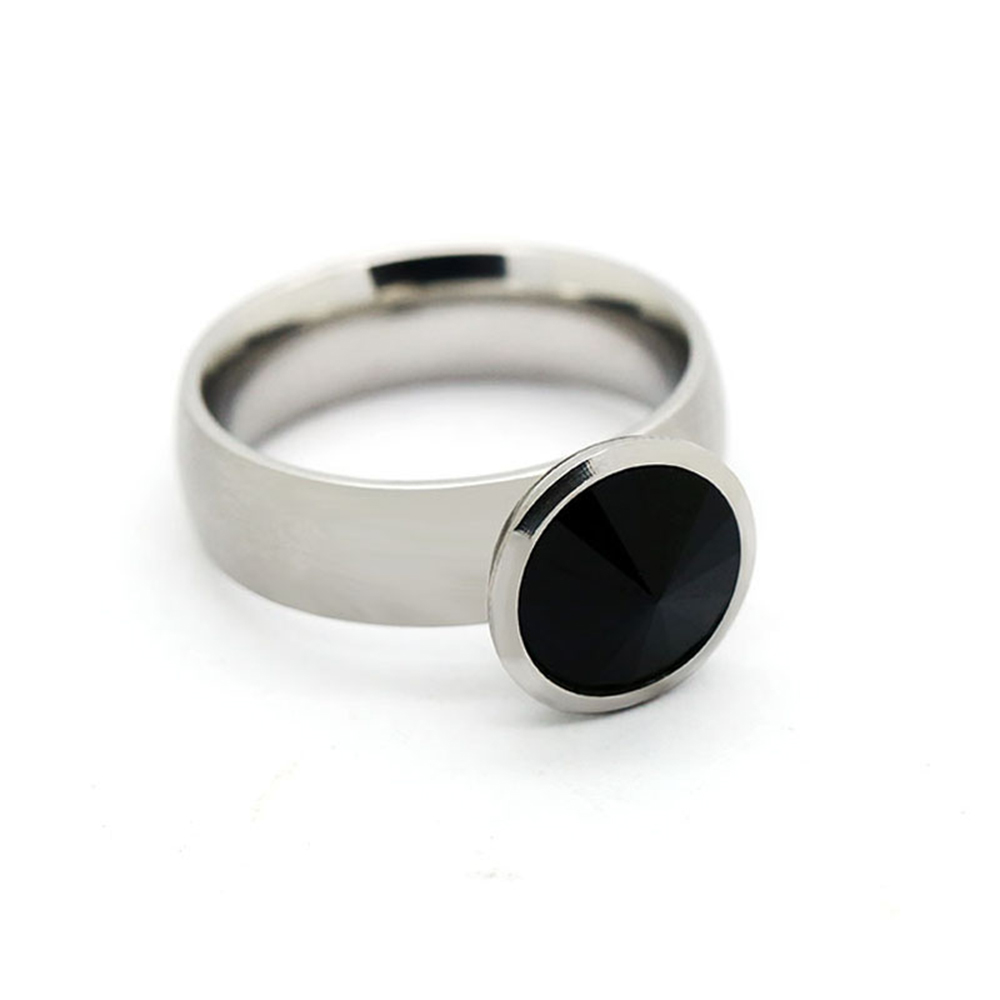 Stainless Steel Crystal Ring