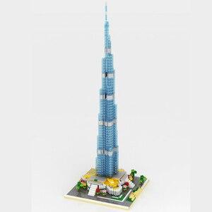 Image 3 - Yz 053 Wereld Beroemde Architectuur Burj Khalifa toren 3D Model Diy Mini Diamant Blokken Bricks Building Speelgoed Voor Kinderen Geen doos