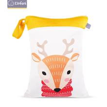 Elinfant ins Nordic animal pattern diaper bags wetbags with 30×40cm double pocket zippers