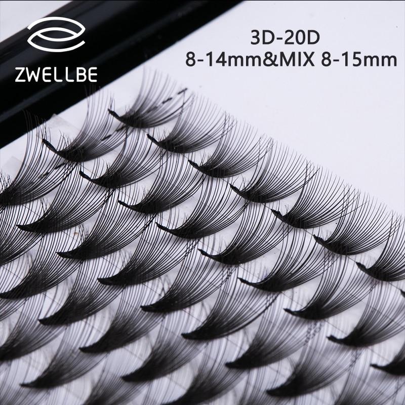 Lashes Short Stem 3D 20D Individual Cluster Eyelash Extension Premade Volume Wide Fans Faux Mink Professional Russian Volume