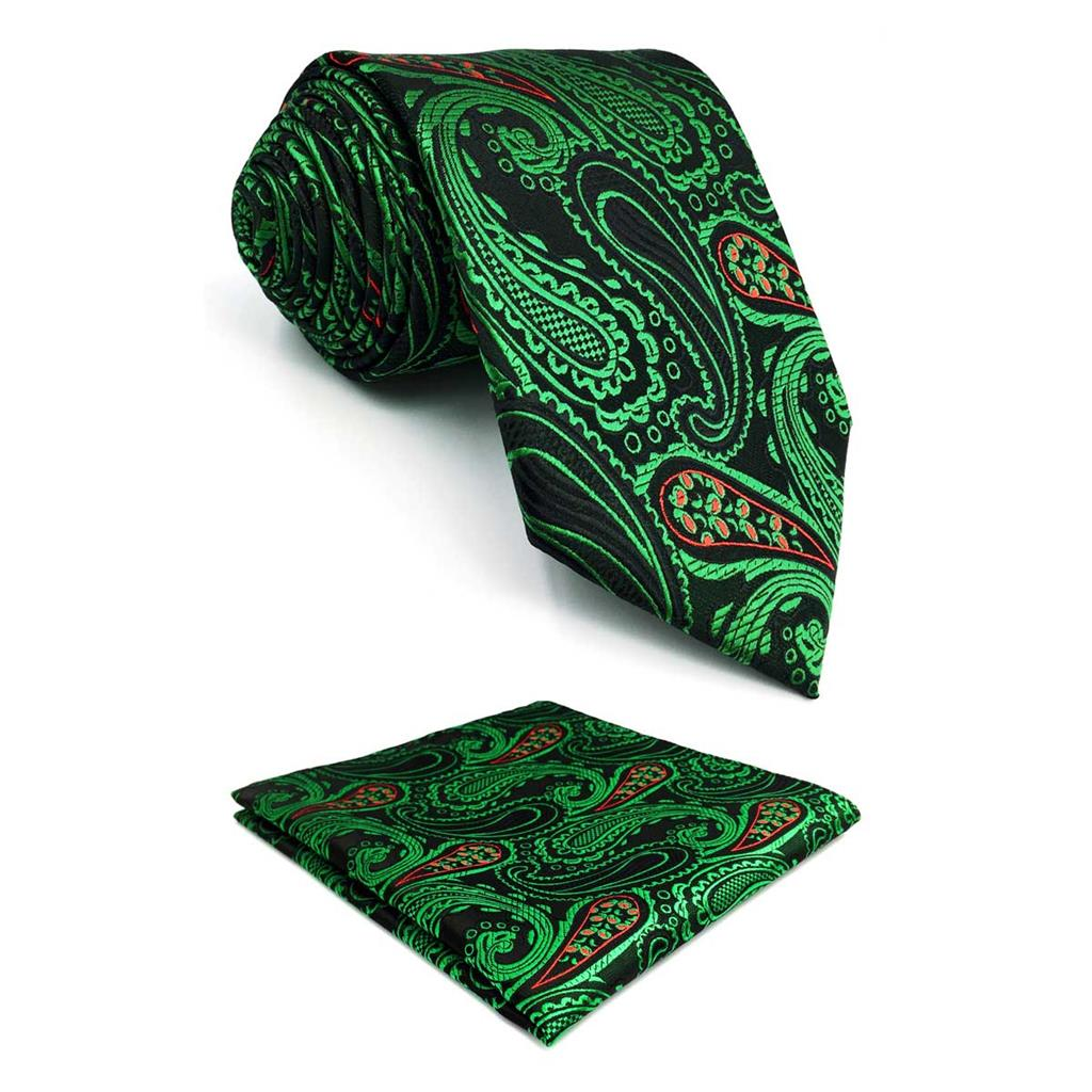 F30 Green Red Paisley Ties for Men Silk Necktie Pocket Square New Long